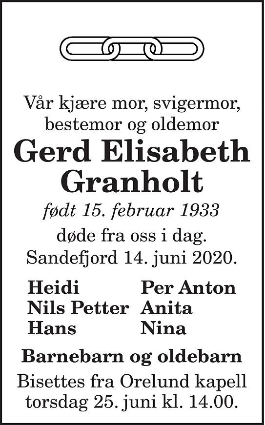 Gerd Elisabeth Granholt Dødsannonse