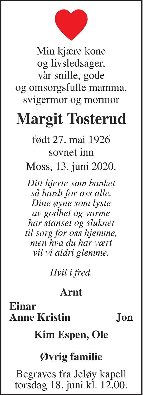 Margit Tosterud Dødsannonse