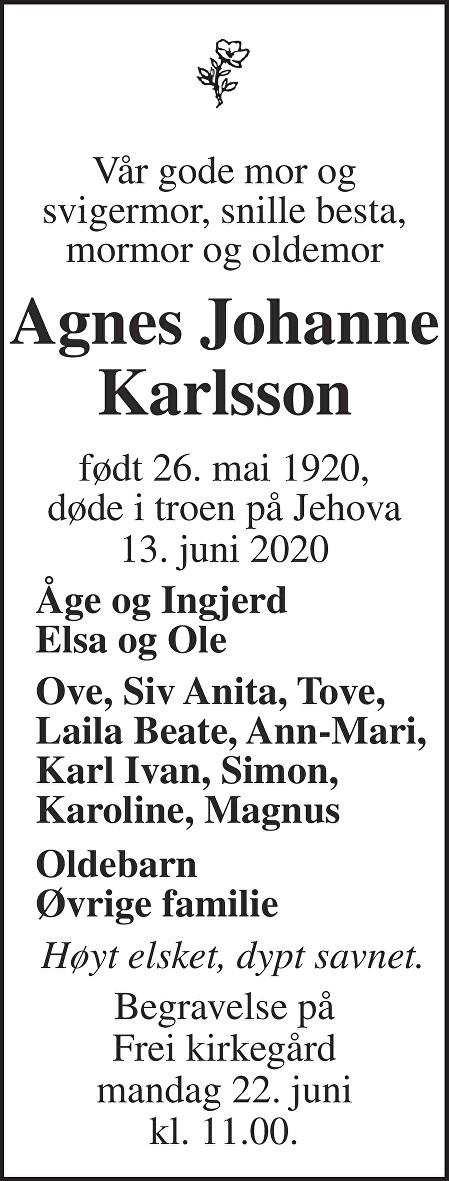 Agnes Johanne Karlsson Dødsannonse