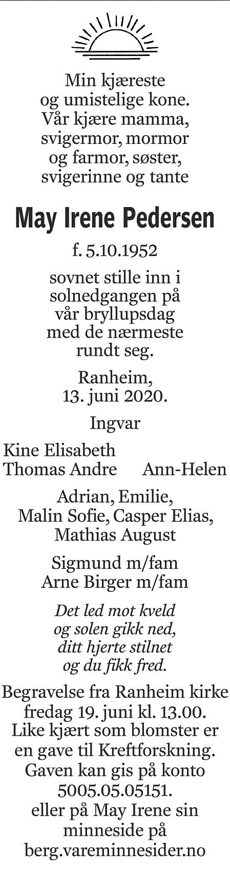 May Irene Pedersen Dødsannonse