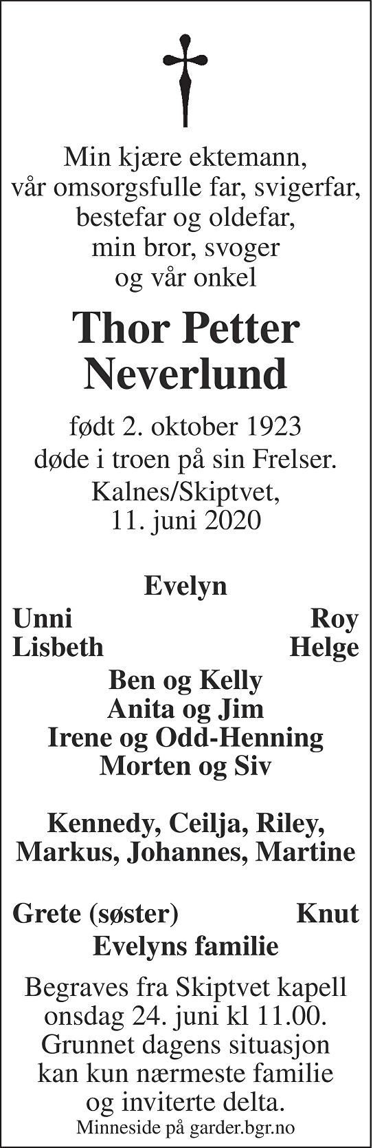 Thor Petter Neverlund Dødsannonse