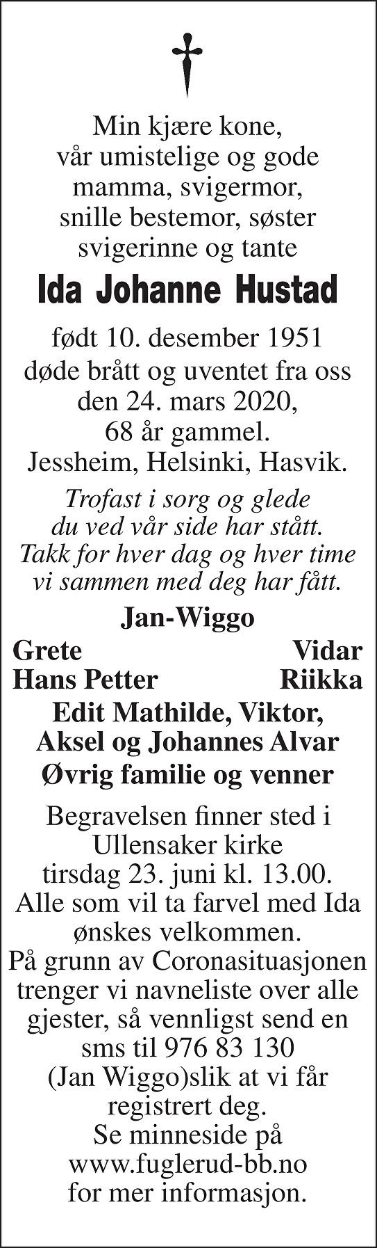Ida Johanne Hustad Dødsannonse