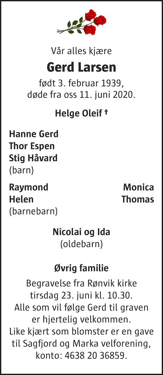 Gerd Larsen Dødsannonse
