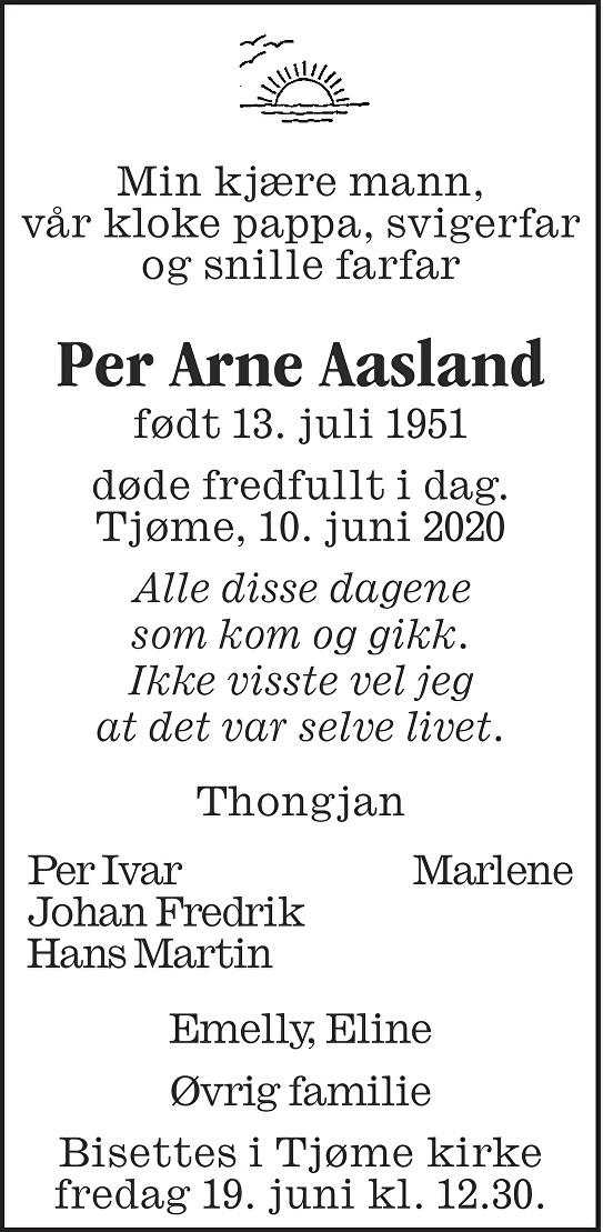 Per Arne Aasland Dødsannonse