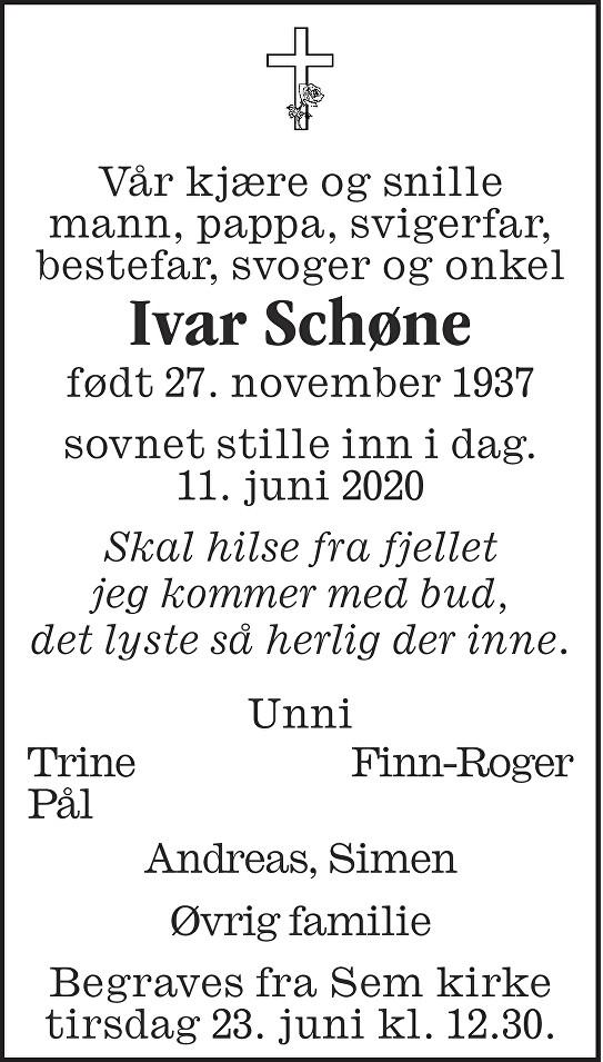 Ivar Schøne Dødsannonse