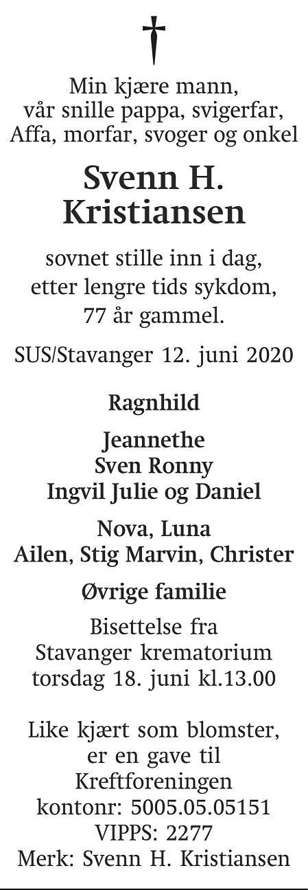 Svenn H. Kristiansen Dødsannonse