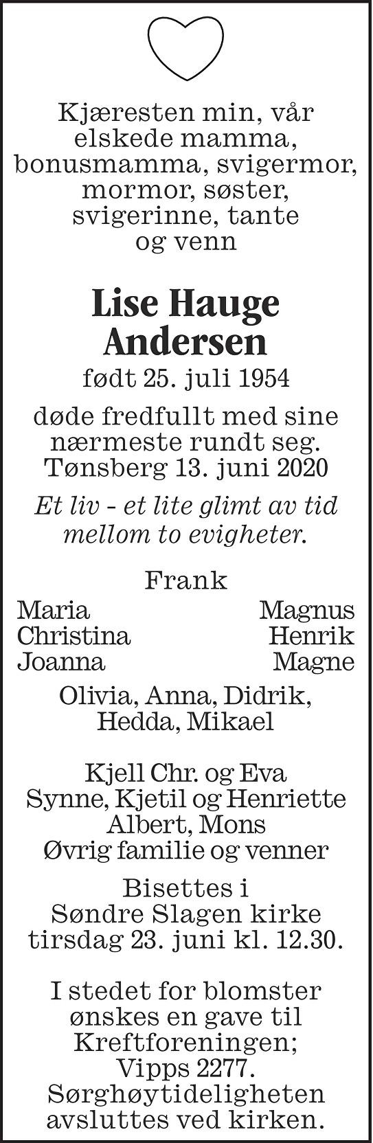 Lise Hauge Andersen Dødsannonse