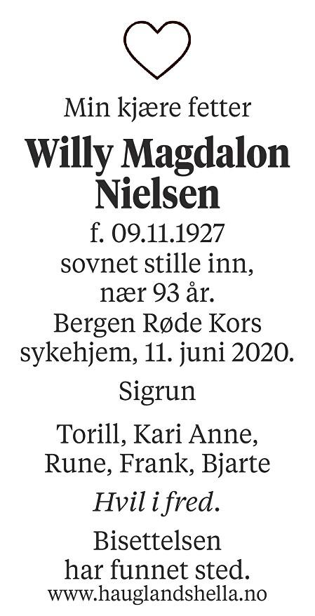Willy Magdalon Nielsen Dødsannonse