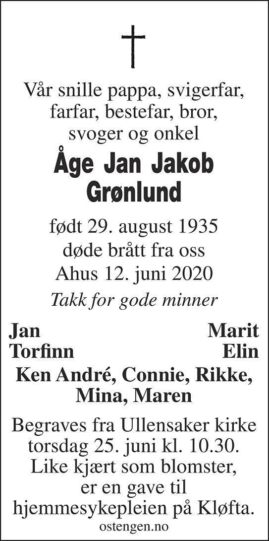 Åge Jan Jakob Grønlund Dødsannonse