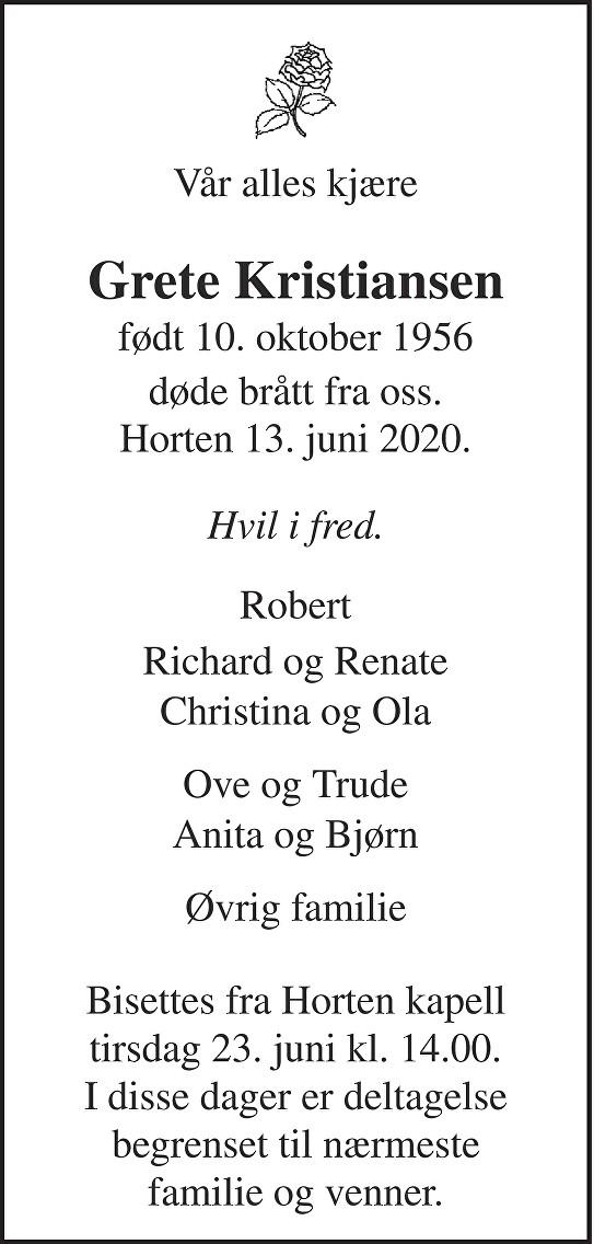 Grete Kristiansen Dødsannonse