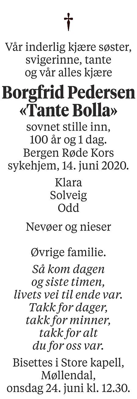 Borgfrid Pedersen Dødsannonse