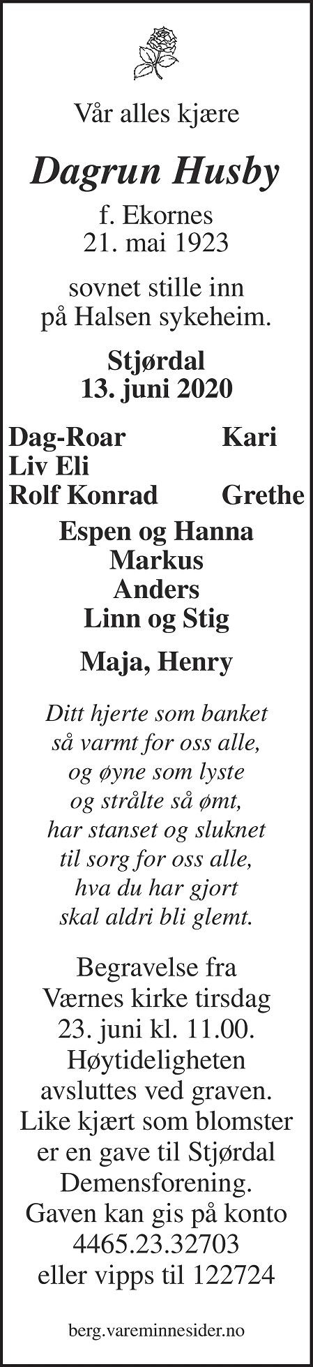 Dagrun Husby Dødsannonse