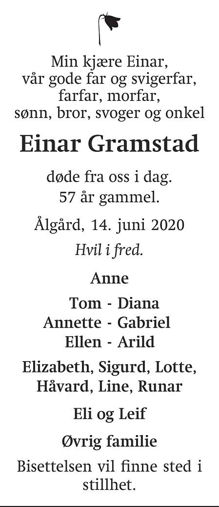Einar Gramstad Dødsannonse
