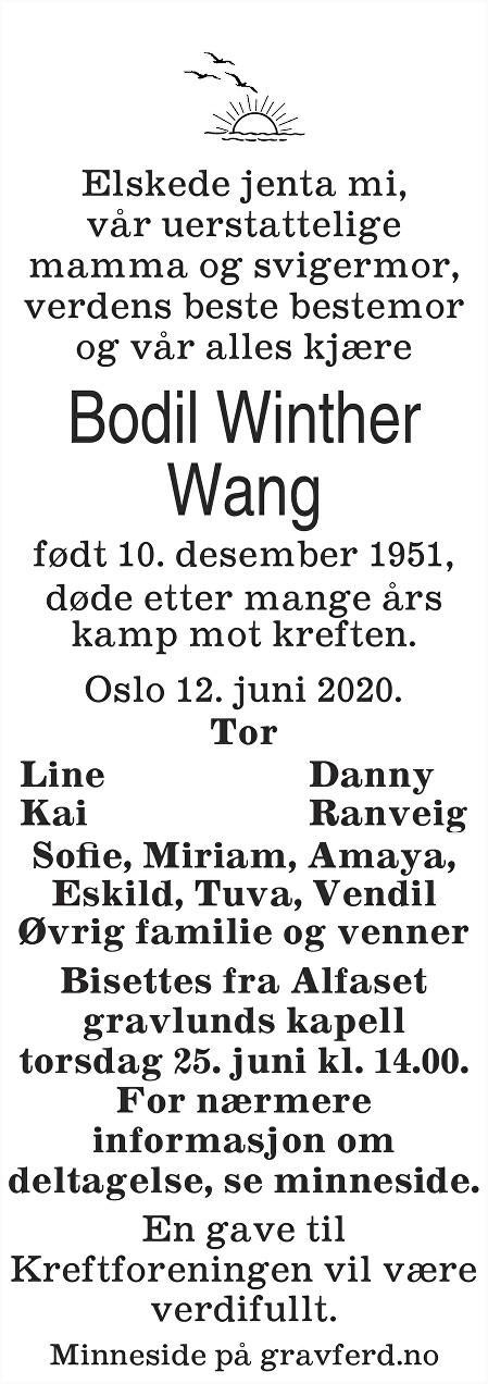 Bodil Winther Wang Dødsannonse