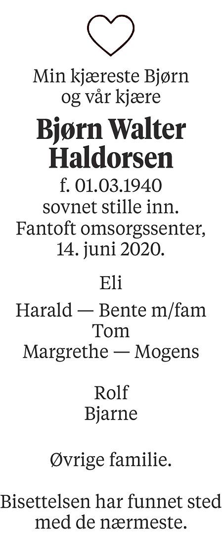Bjørn Walter Haldorsen Dødsannonse
