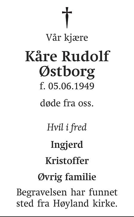 Kåre Rudolf Østborg Dødsannonse