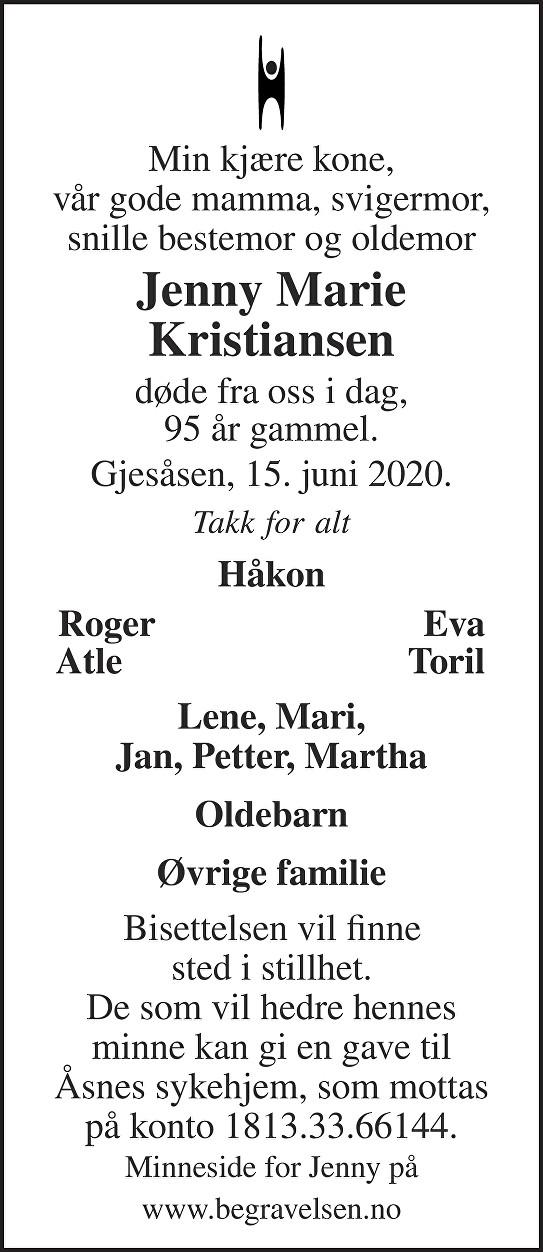 Jenny Marie Kristiansen Dødsannonse