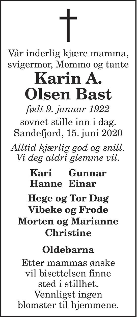 Karin A.  Olsen Bast Dødsannonse