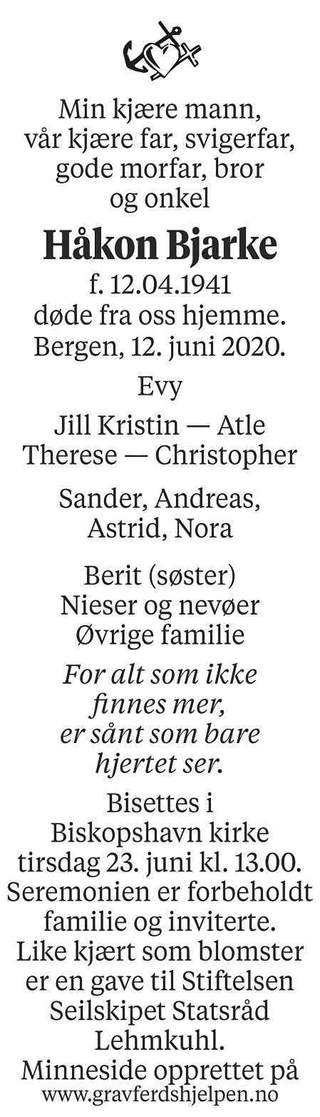 Håkon Bjarke Dødsannonse