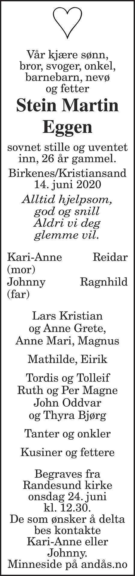 Stein Martin Eggen Dødsannonse