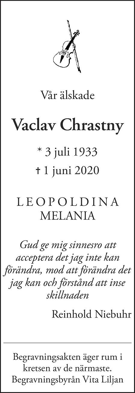 Vaclav Chrastny Death notice