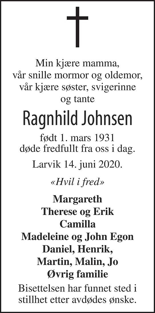 Ragnhild Johnsen Dødsannonse