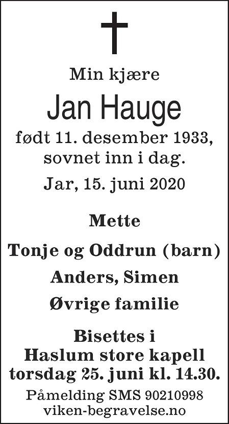 Jan Hauge Dødsannonse
