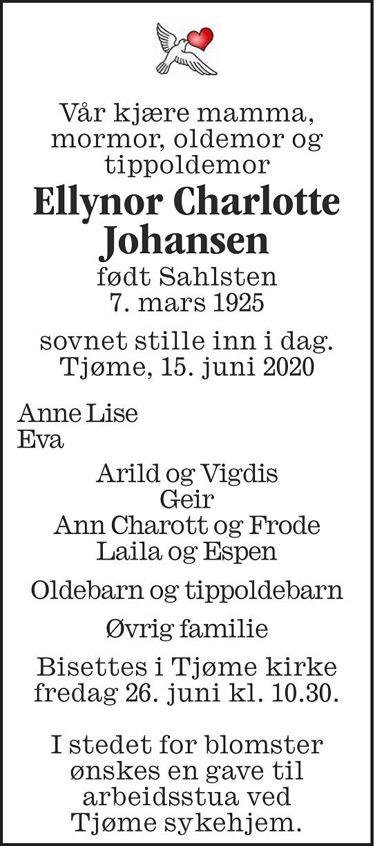 Ellynor Charlotte Johansen Dødsannonse
