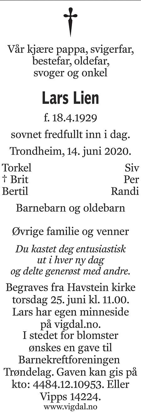 Lars Lien Dødsannonse