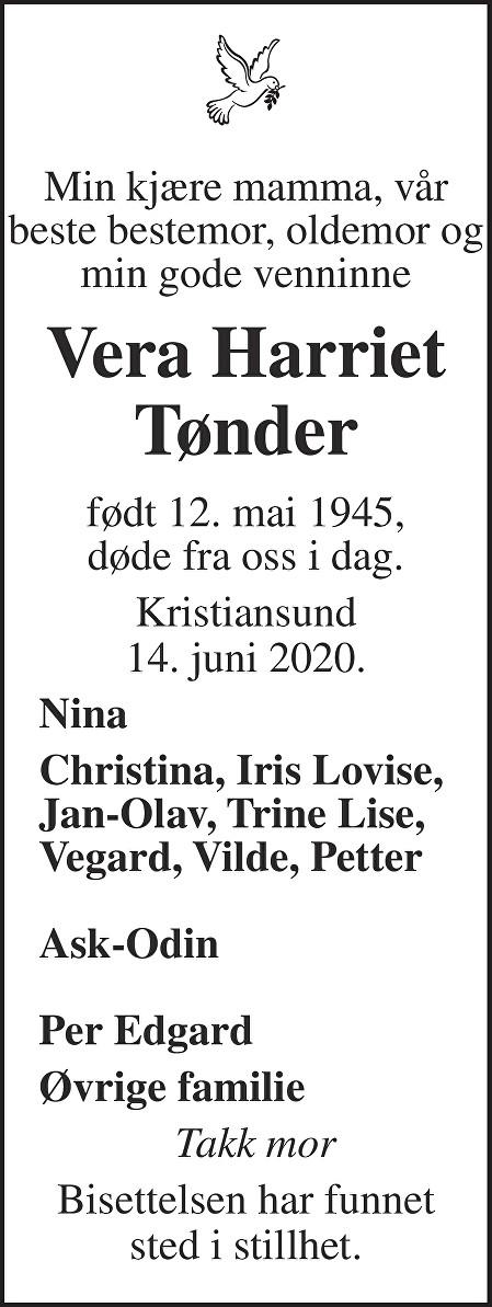 Vera Harriet Tønder Dødsannonse
