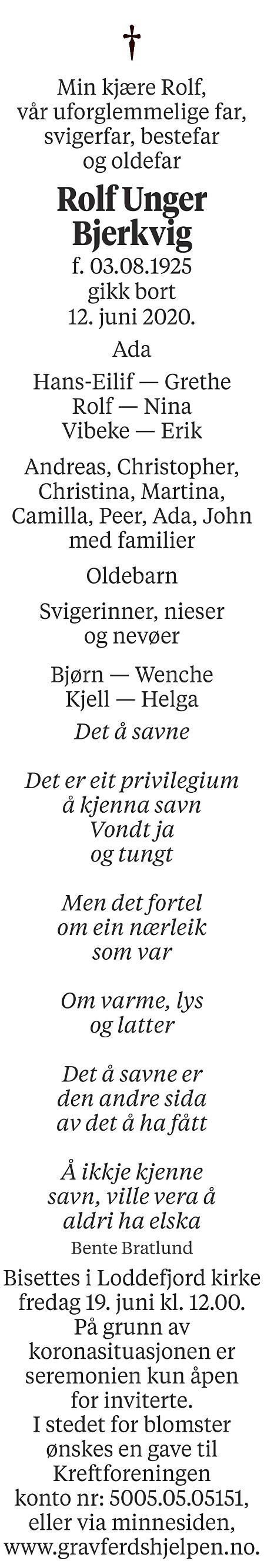 Rolf Unger Bjerkvig Dødsannonse