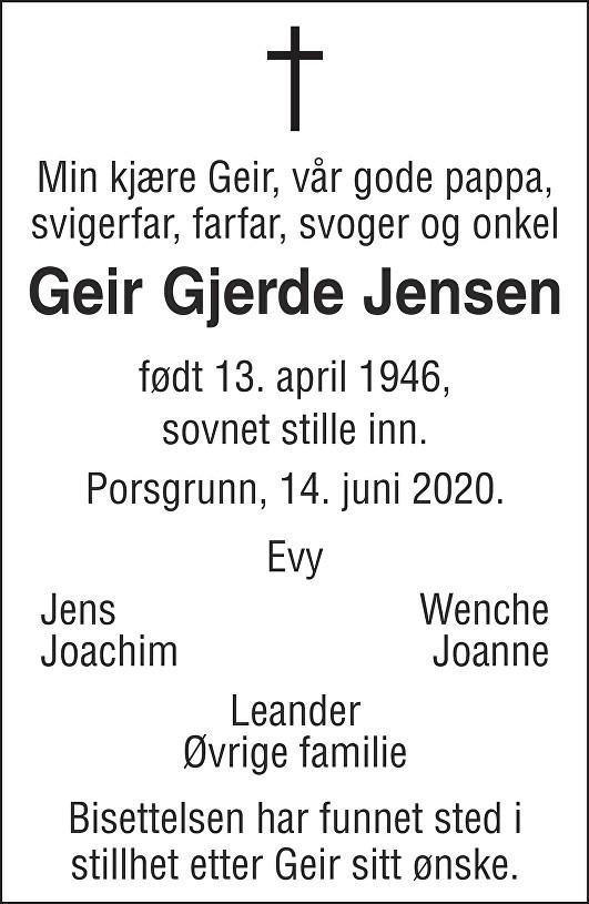 Geir Gjerde Jensen Dødsannonse