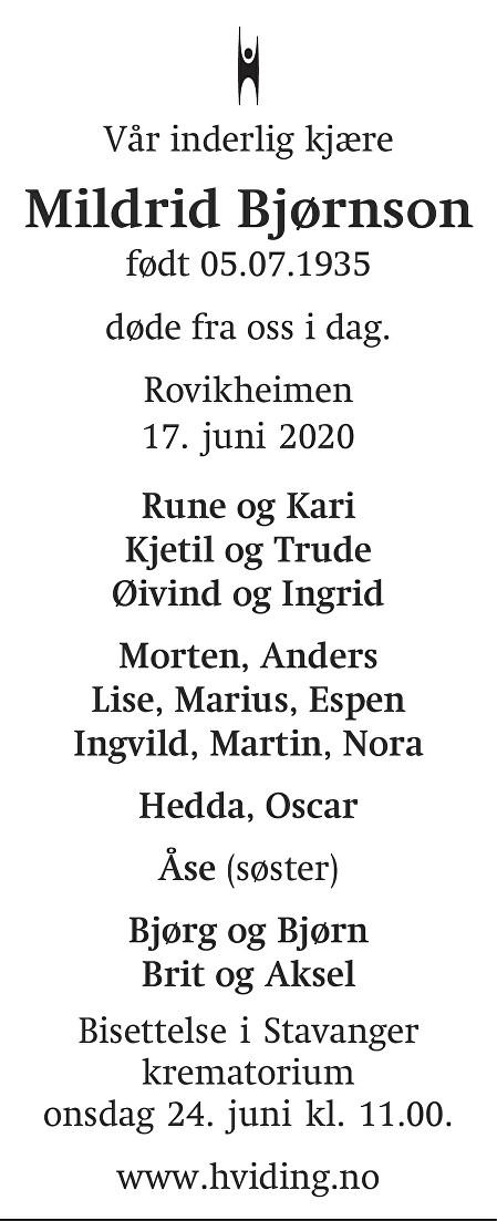 Mildrid Bjørnson Dødsannonse