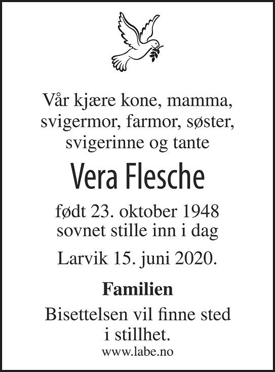 Vera Flesche Dødsannonse