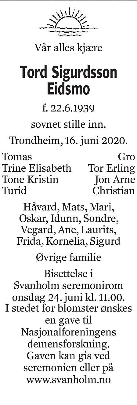 Tord Sigurdson Eidsmo Dødsannonse