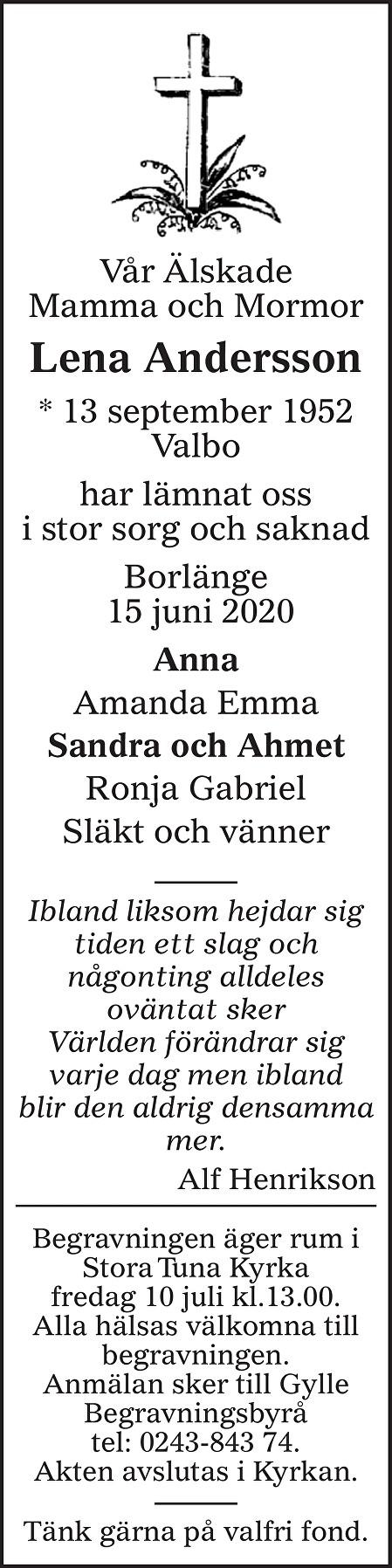 Helena Andersson Death notice