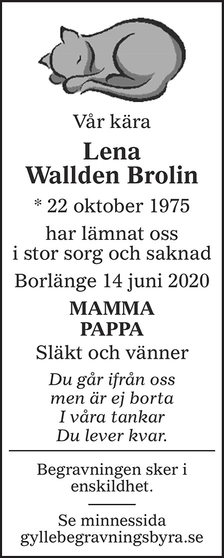 Lena Brolin Death notice