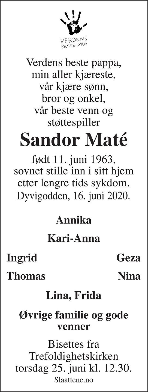 Sandor Erik Maté Dødsannonse