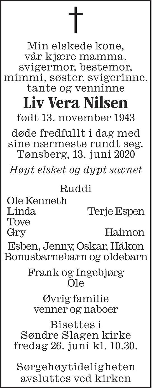 Liv Vera Nilsen Dødsannonse