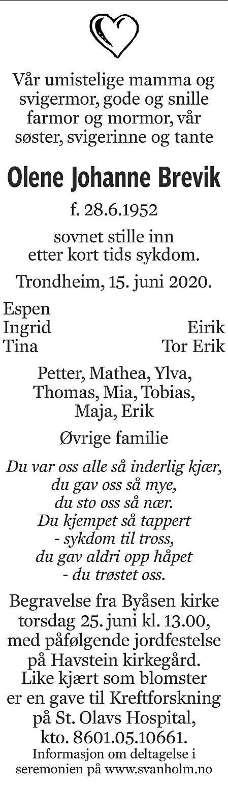 Olene Johanne Brevik Dødsannonse