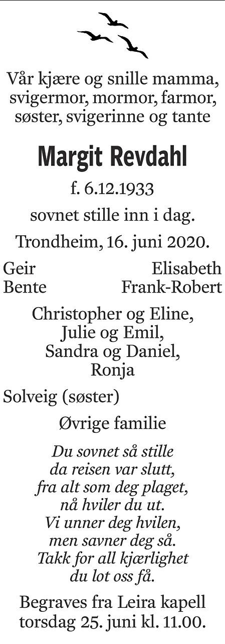 Margit Revdahl Dødsannonse