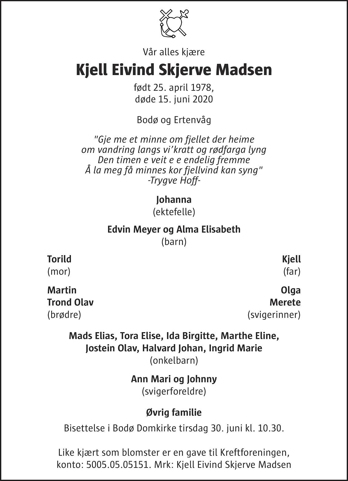 Kjell Eivind Skjerve Madsen Dødsannonse