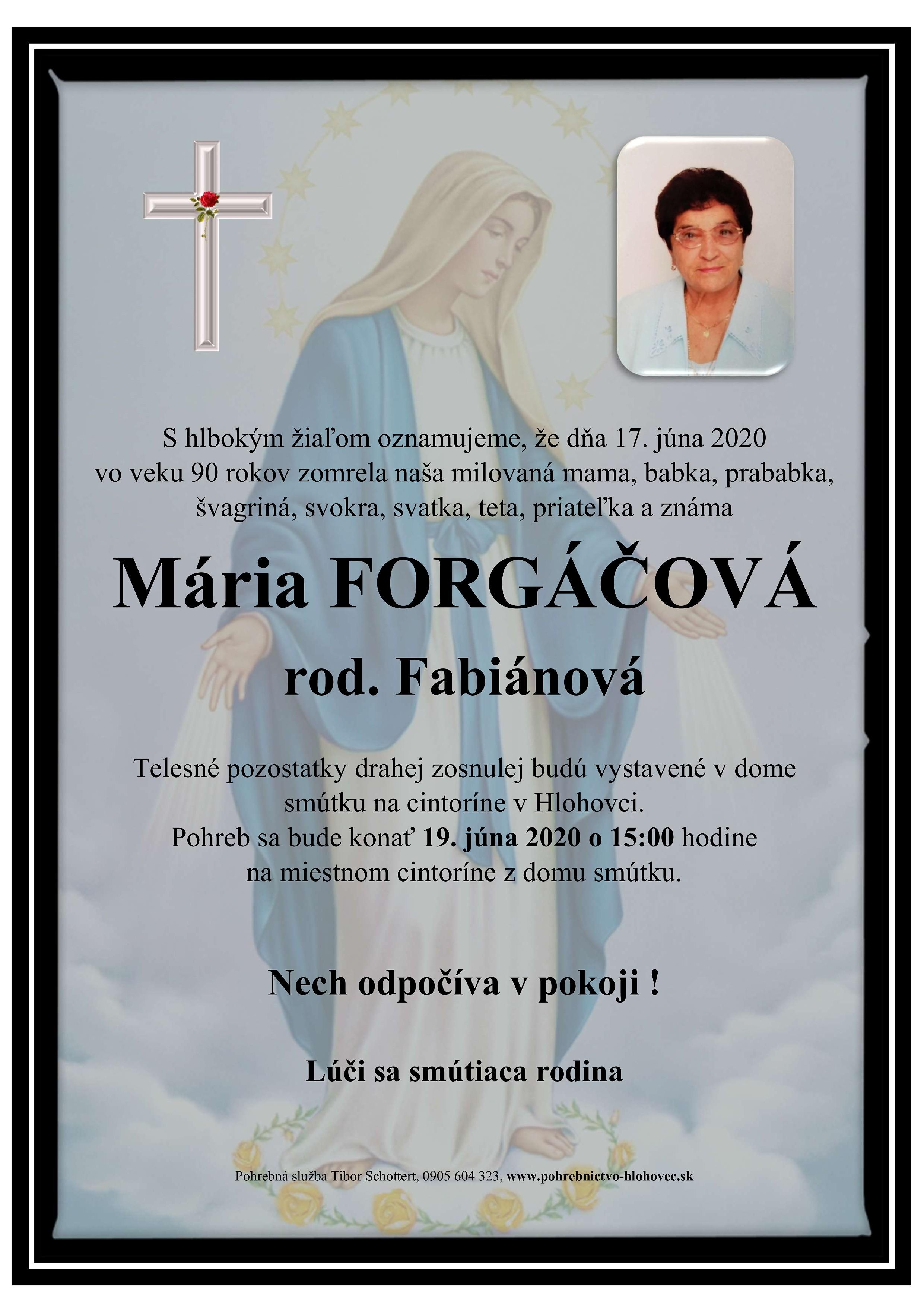 Mária Forgáčová Parte