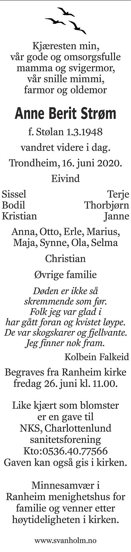 Anne Berit Strøm Dødsannonse
