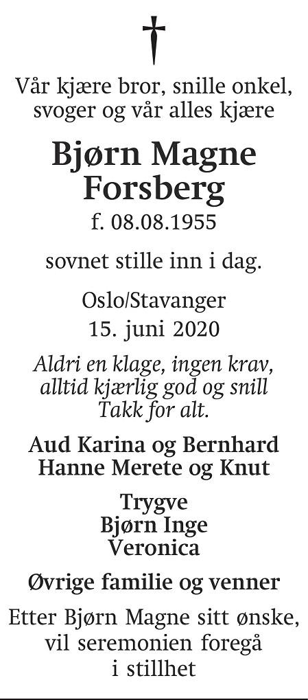 Bjørn Magne Forsberg Dødsannonse
