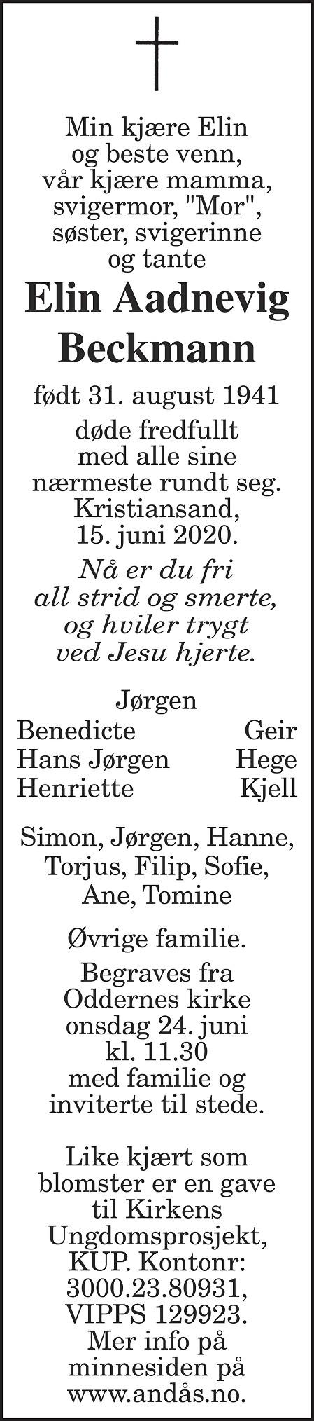 Elin Aadnevig Beckmann Dødsannonse