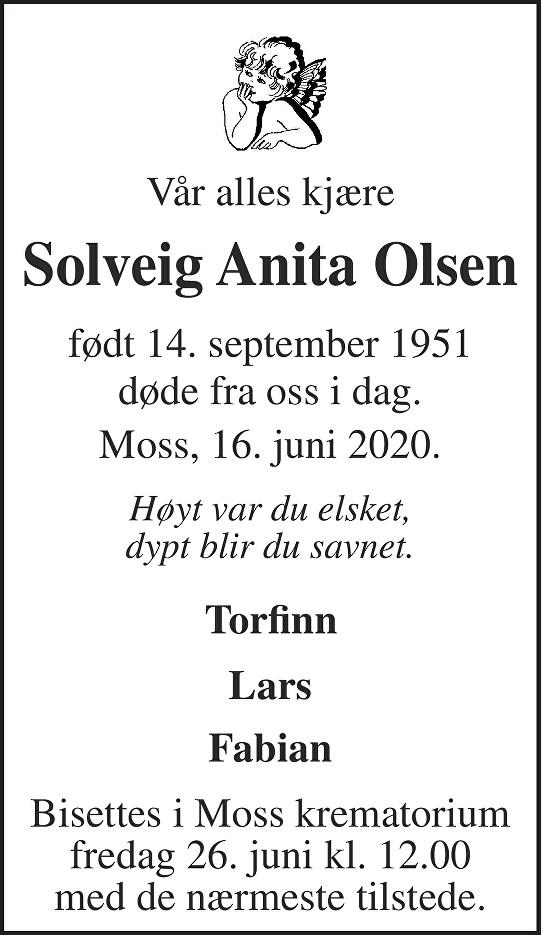 Solveig Anita Olsen Dødsannonse