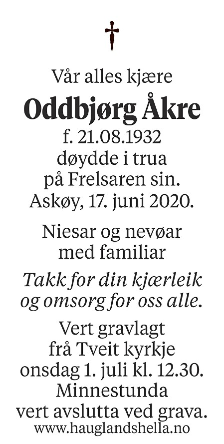 Oddbjørg Åkre Dødsannonse