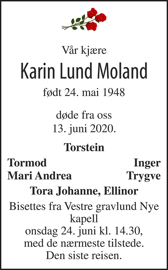 Karin Lund Moland Dødsannonse