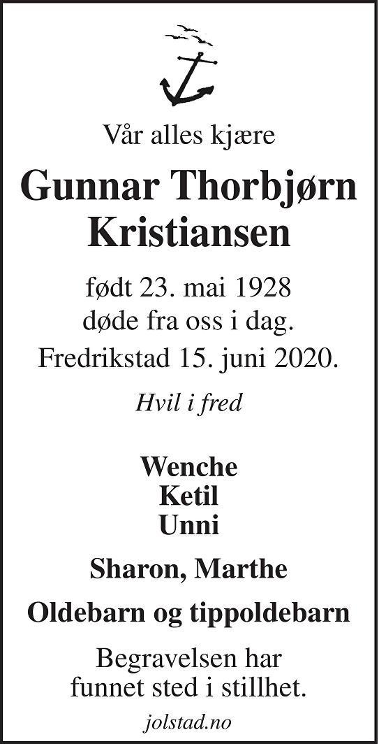 Gunnar Thorbjørn  Kristiansen Dødsannonse